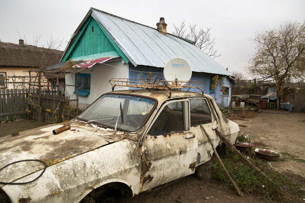 Sulina, Romania,November 2017. An old car in the town of Letea, north of Sulina.