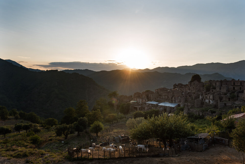 A view of Casalinuovo, a town in the Aspromonte National Park abandoned in the 1951 after a flood and today inhabited by only two shepherd brothers, August 2018.