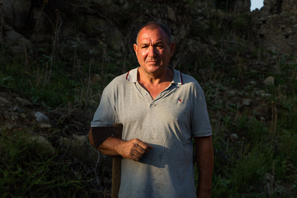 Giovanni Morabito, one of the two shepherd brothers who live in Casalinuovo, a town abandoned after the 1951 flood, August 2018.