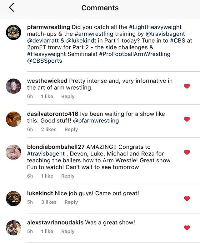 Thanks for watching, and thanks for the feedback! Same time, same channel tomorrow! 2pmET on #CBS! 💪🏈#ProFootballArmWrestling #armwrestling  @westhewicked @dasilvatoronto416 @blondiebombshell27 @lukekindt @alexstavrianoudakis @CBSSports @CBStv