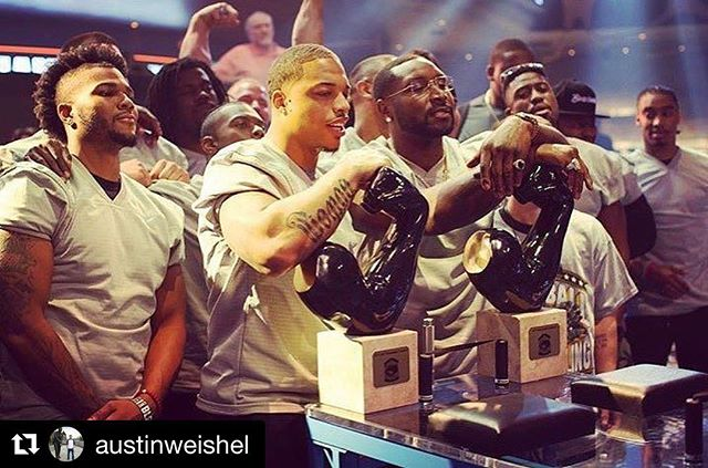 Awesome craftsmanship! Thanks, @austinweishel!  #Repost @austinweishel @navorro_bowman & @dewey_mac winning the light weight and heavy weight Arm Wrestling championship. What a mind-blowing experience making these awards for this event. Thank you to all that have helped me over the years and I am excited to see what will come up next. #nfl #mgm #vegas #art #artist photo credit: @pfarmwrestling