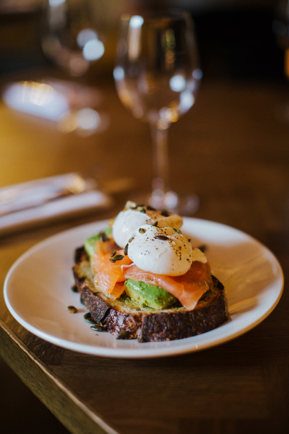 Poached Eggs with Avocado and Salmon from the brunch menu at The Globe pub and restaurant in Warwick.jpg