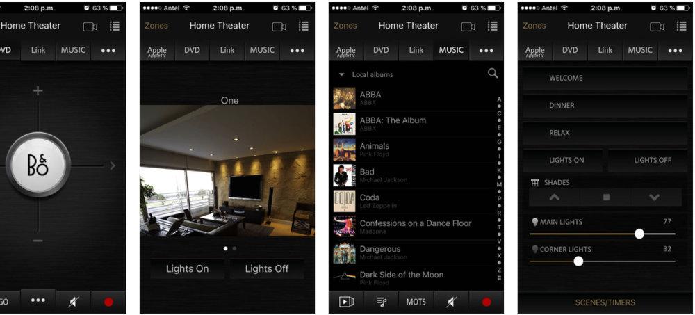 Visualisatie van de  BeoLink Gateway app - Voor het bedienen van audio, televisie, camera's, verlichting (via Hue lampen of KNX en thermostaten van Nest of KNX.