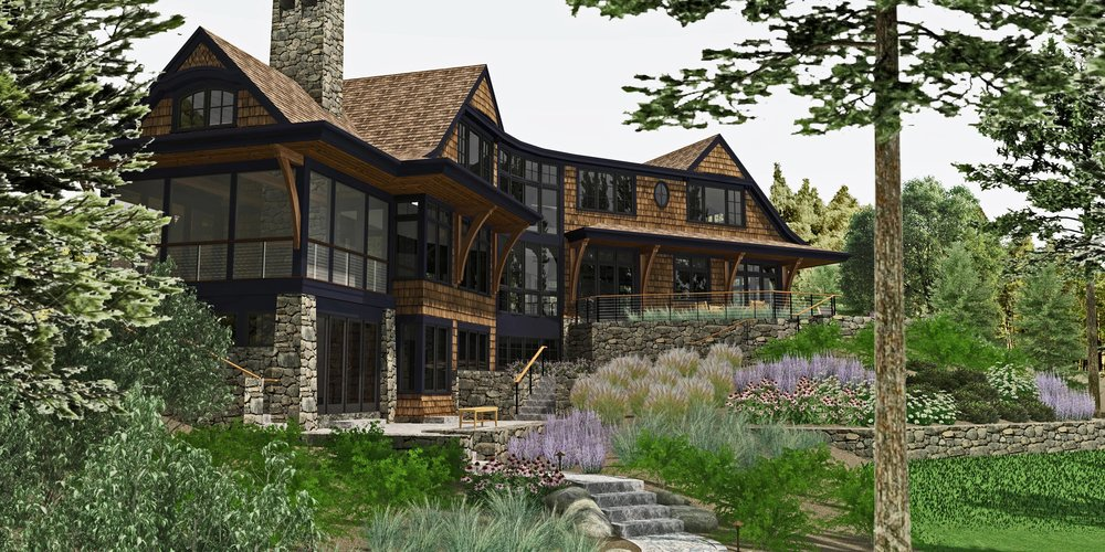PINE BLUFF SHINGLE STYLE -  new london, nh  residential
