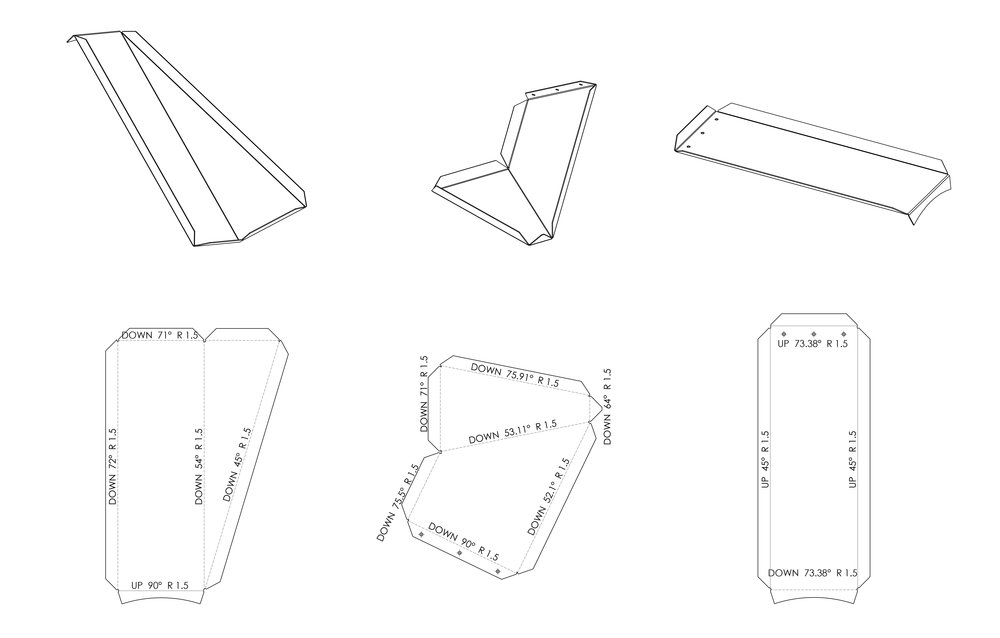 Various 3dparts with 2d drawings with bendlines