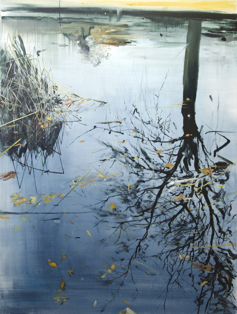 Calum McClure - Leaves and Reeds on Reflection  2013 80 x 60cms, oil on board