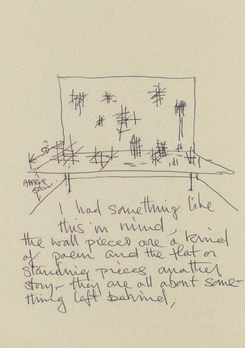 Ian Tyson  Drawing for installation of wooden maquettes entitled 'Things Left Behind'.
