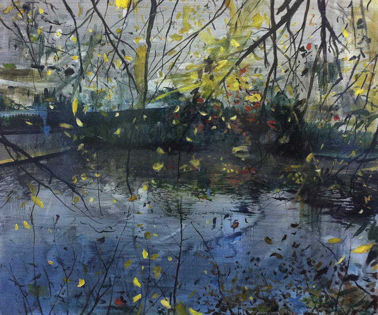 Calum McClure, Yellow Leaves at Dusk, Kew Gardens, 2015 oil on board, 50 x 60 cm (Private Collection)