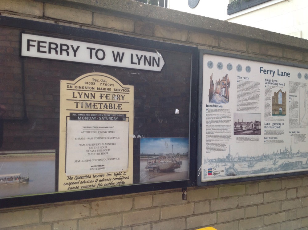 The main route across the Great Ouse to West Lynn is still the ferry, which runs regularly throughout the day.