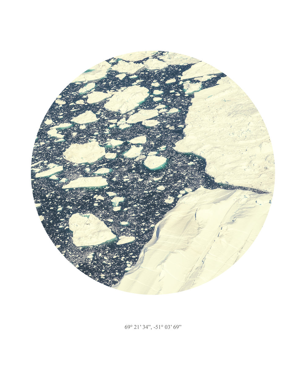 Melt  Melt is a series of 12 circular aerial images of the Greenland ice sheet, taken in August 2013.  GPS references are displayed on each photograph.