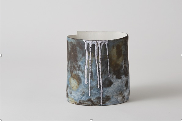 Landscape vessel,   handbuilt stoneware with hand brushed multi-layered glaze, underglaze and stain. h. 15cm