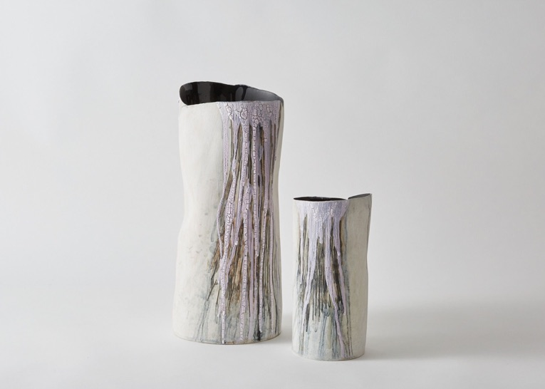 Foss I and II   Handbuilt stoneware, porcelain slip, oxide, stain and glaze, h. 38 & h. 24.5