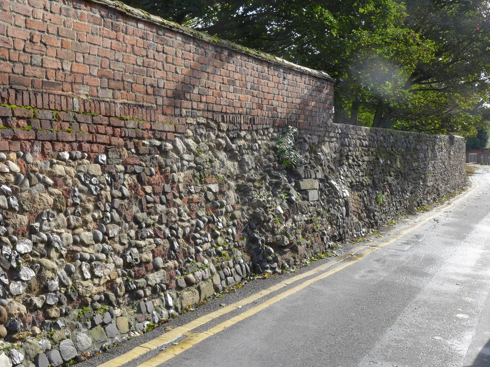 The town walls, here seen at Wyatt Street, are major users of rubble in the town.