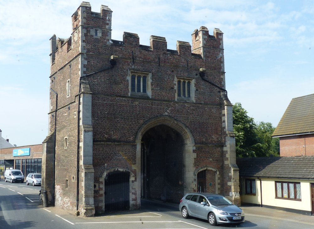 South Gates. An impressive remainder of the original town fortifications. 15th century, brick build with ashlar dressings