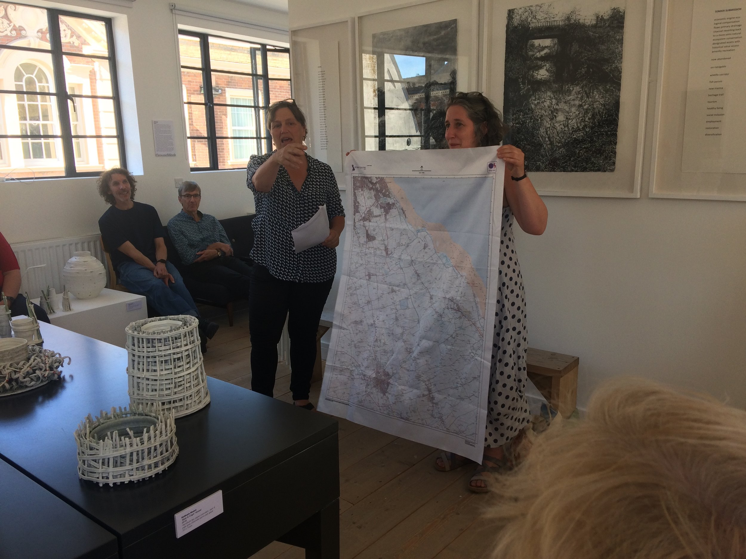 Judith Tucker and Harriet Tarlo talking about their work at GroundWork Gallery on 24th June