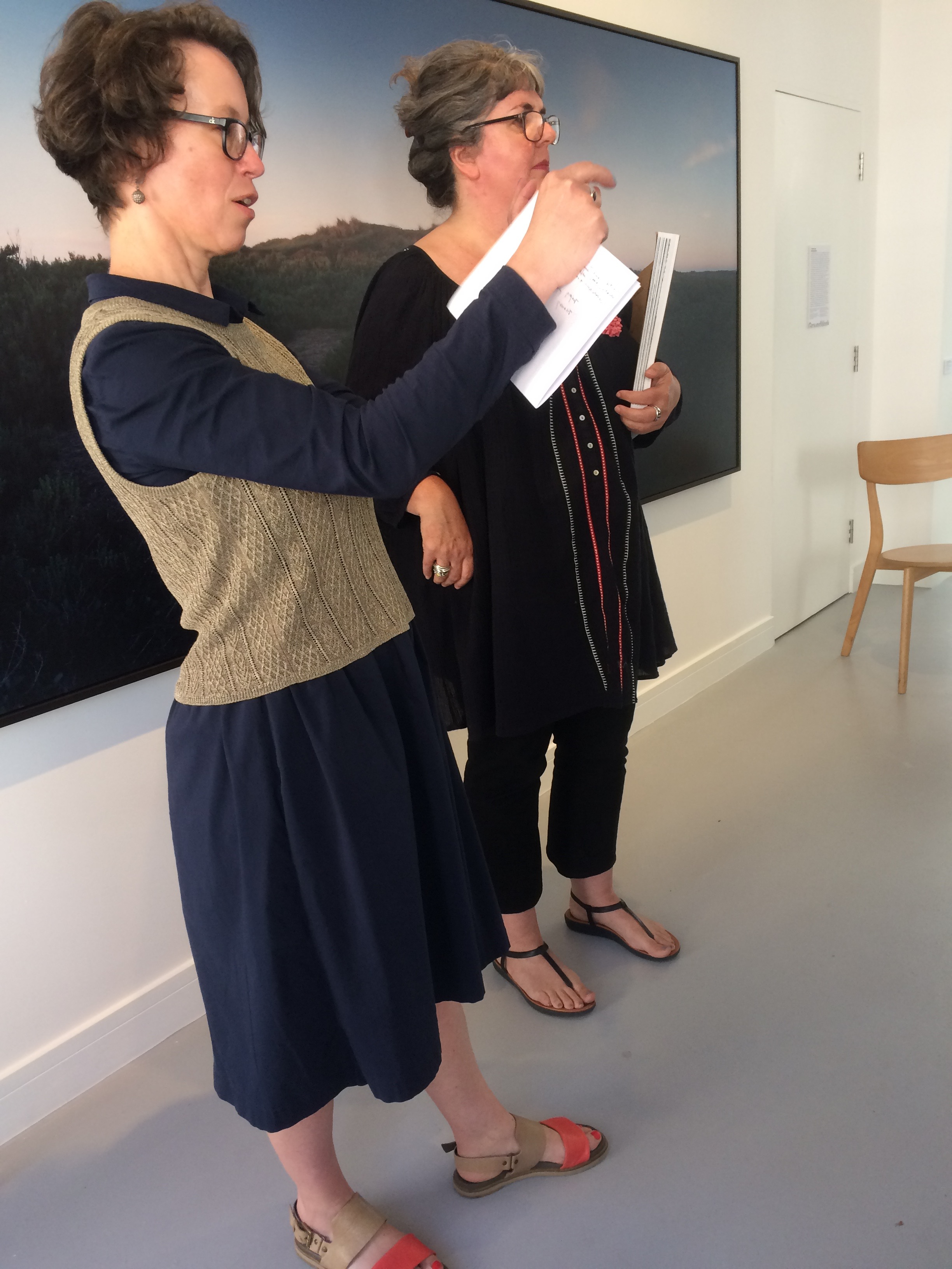 Bergit Arends, who co-commissioned the original exhibition project, and Chrystel Lebas talking at GroundWork Gallery on 24th June