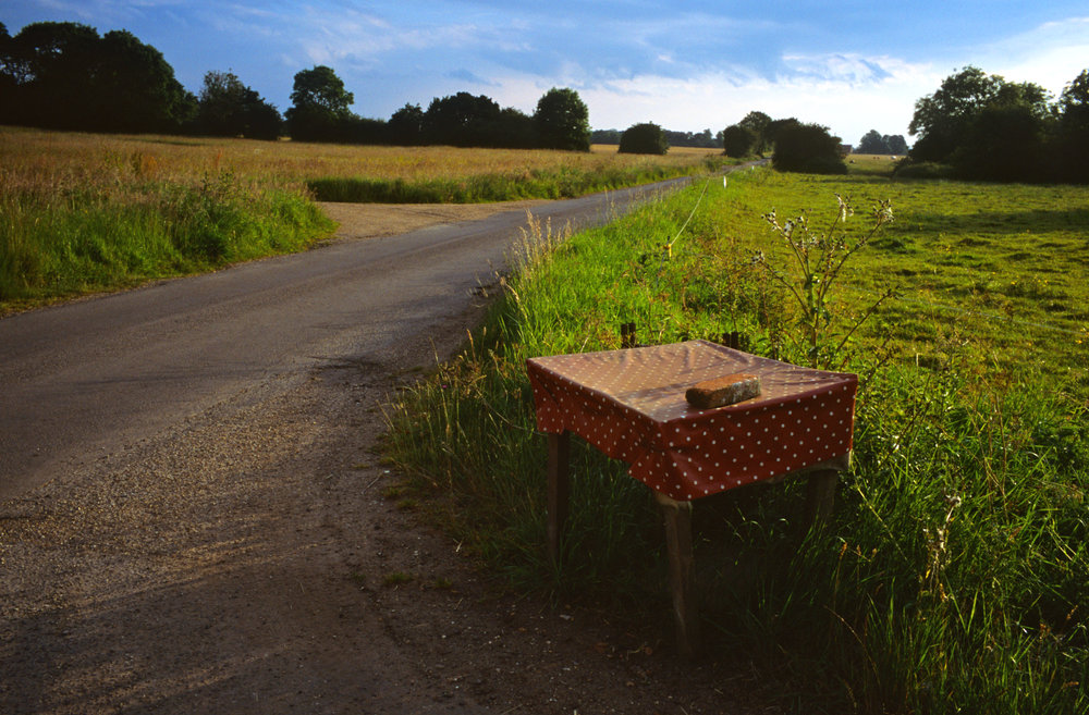 Table and Road, Mellis Common, Suffolk, 2014; 28.5 x 42 inches, Edn. of 3; 22 x 32 inches, Edn. of 5