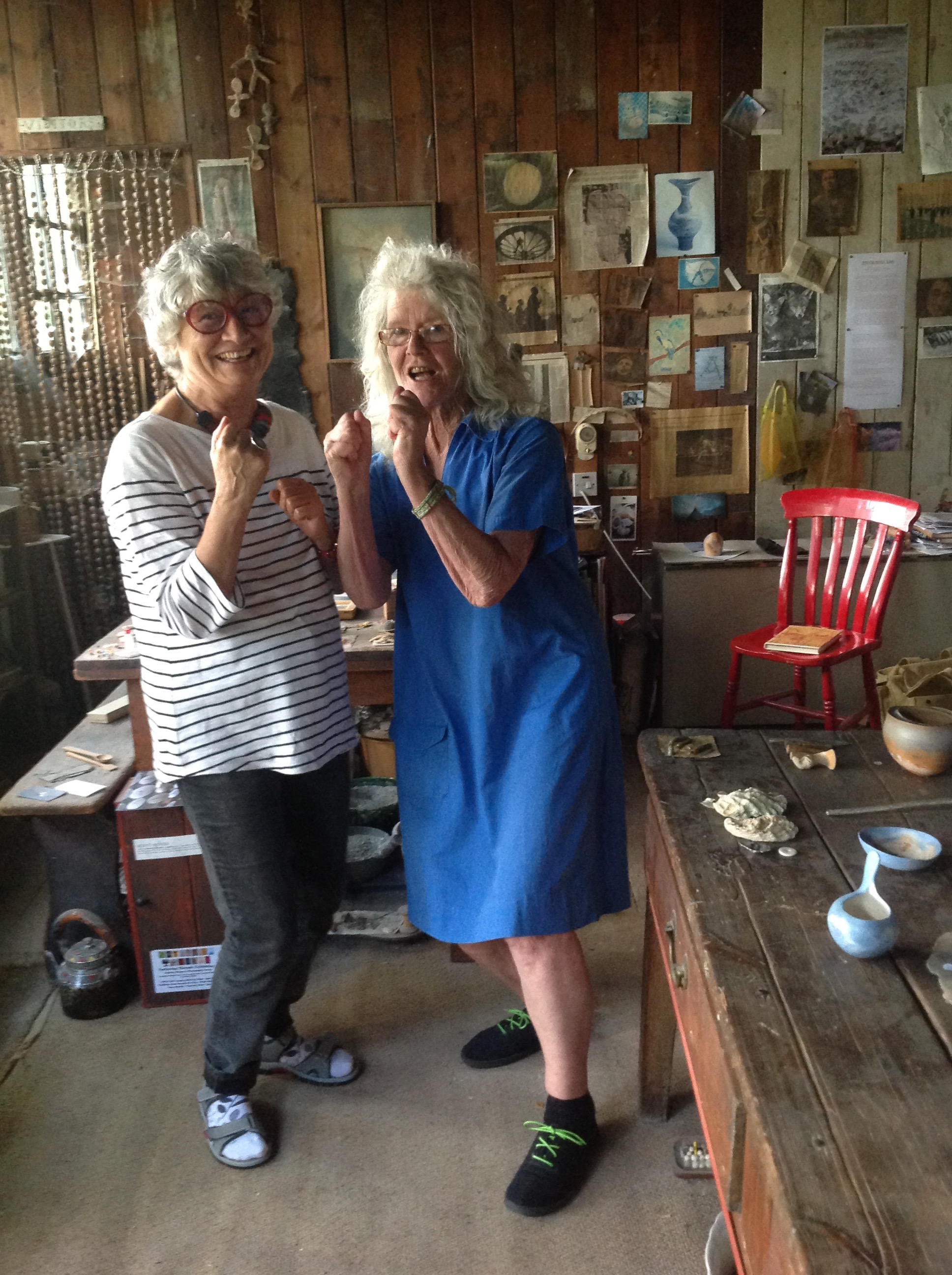 Paca Sanchez, left and Elspeth Owen meeting in Elspeth's studio, summer 2018, and realising they are the same age,.