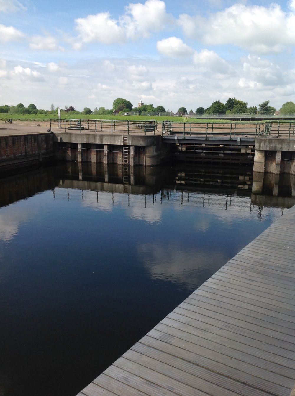 The sluice gate which forms a barrier between the Purfleet River, on which the Gallery sits and the Great Ouse, the tidal river which brought King's Lynn its trade