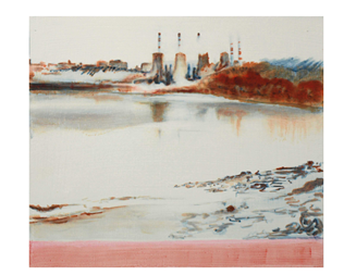 Sophie Marritt, Great Ouse 1, Watercolour and pencil on paper. Sophie Marritt has painted a series of haunting and delicate pictures of the local watery area around King's Lynn and the Wash, reflecting on the proximities of industry and open landscape.