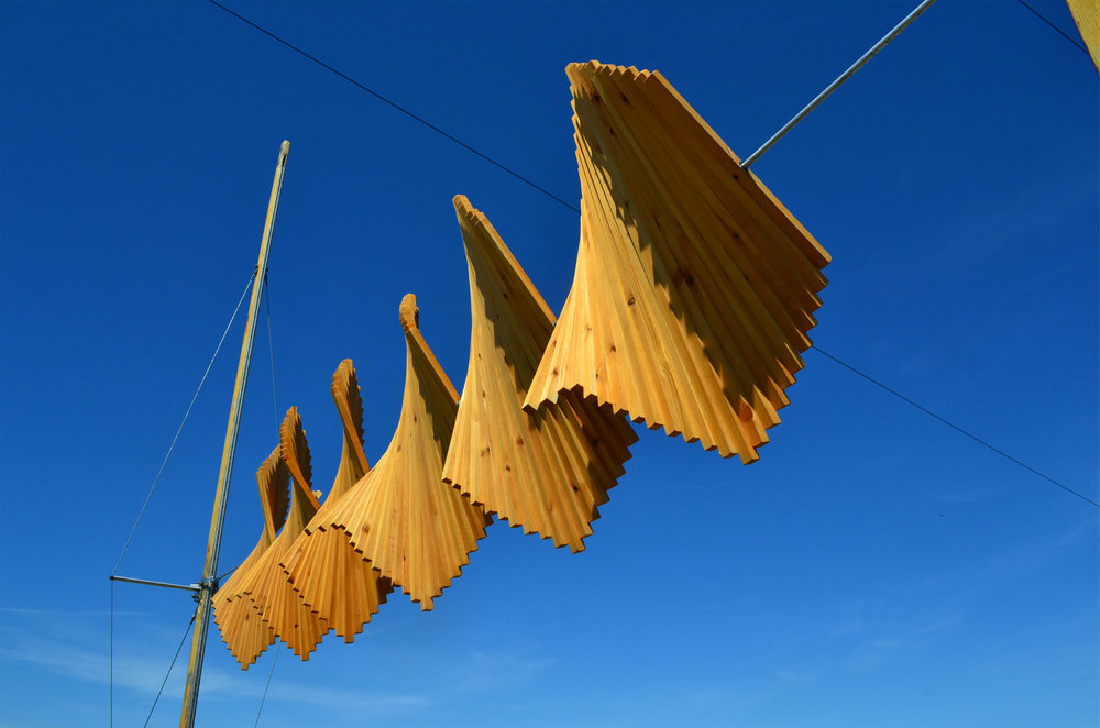 In 2018 Kaitlin was a selected artist for Cley Contemporary, Norfolk, and made this wind installation for siting on the beach