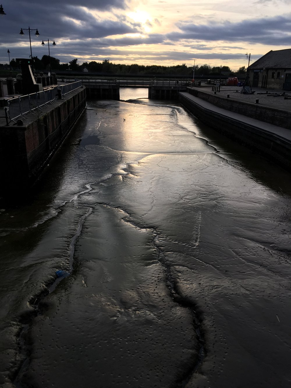 The Purfleet River, outside the gallery, at low tide