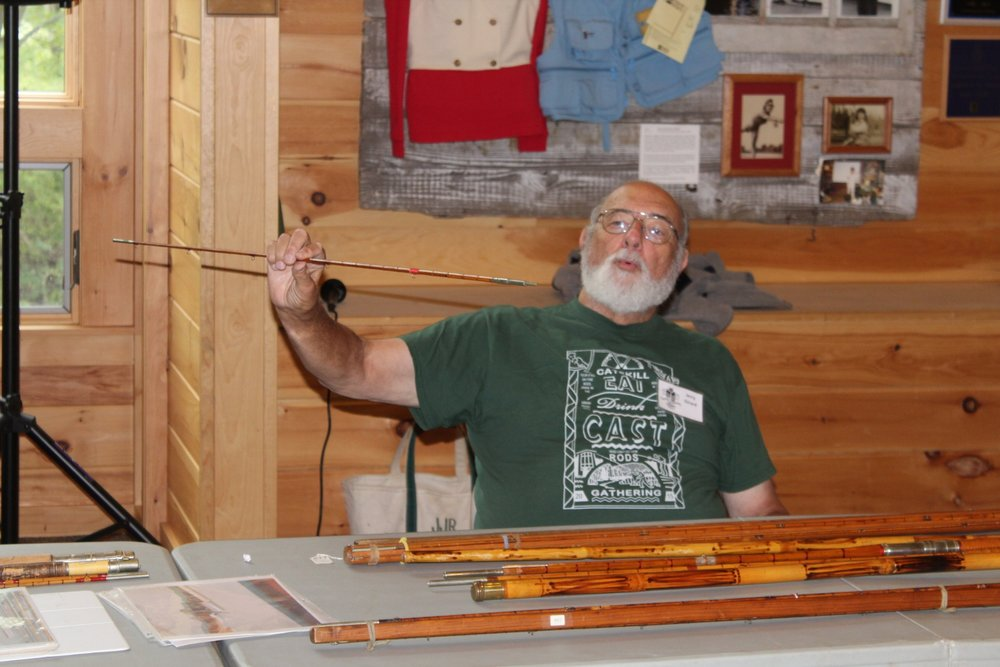 Jerry Girard displays a segment of a Leonard rod during a talk on the historic rod maker given at both the 24th annual Catskill Rodmakers Gathering and the conference of Leonard rod enthusiasts that followed the gathering.