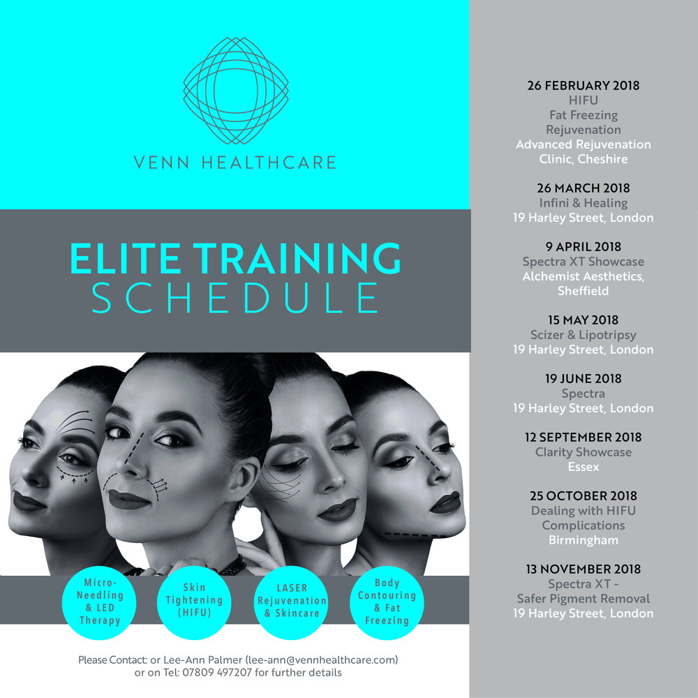 Introducing Venn's Aesthetic Workshops covering HIFU, Micro-Needling, Laser Rejuvenation, Skincare and Fat Freezing Treatments... led by our Head of Education Lee-Ann Palmer. If you have a question or interested in attending one of the workshops, please email lee-ann@vennhealthcare.com.  Dates for Aesthetic Courses:   26 FEBRUARY 2018 - HIFU / Fat Freezing / Rejuvenation   Advanced Rejuvenation Clinic, Cheshire   26 MARCH 2018 - Infini & Healing   19 Harley Street, London   9 APRIL 2018 - Spectra XT Showcase  Alchemist Aesthetics, Sheffield   15 MAY 2018  - Scizer & Lipotripsy   19 Harley Street, London   19 JUNE 2018 - Spectra   19 Harley Street, London   12 SEPTEMBER 2018 - Clarity Showcase  Essex   25 OCTOBER 2018 - Dealing with HIFU Complications   Birmingham    13 NOVEMBER 2018  - Spectra XT - Safer Pigment Removal   19 Harley Street, London