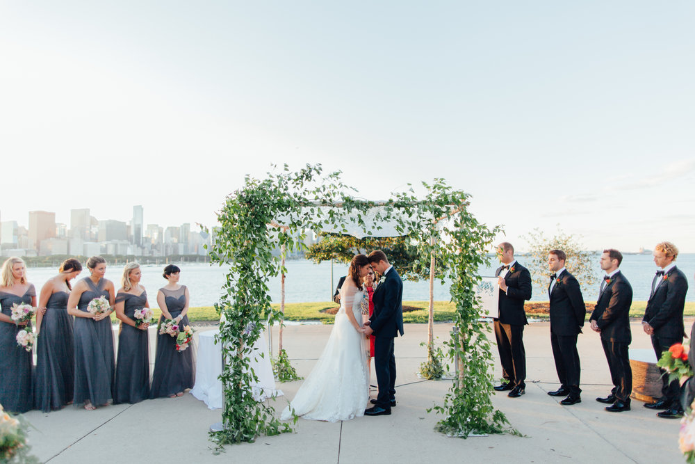 chuppah, jewish wedding, bride and groom, adler planetarium, wrap it up parties
