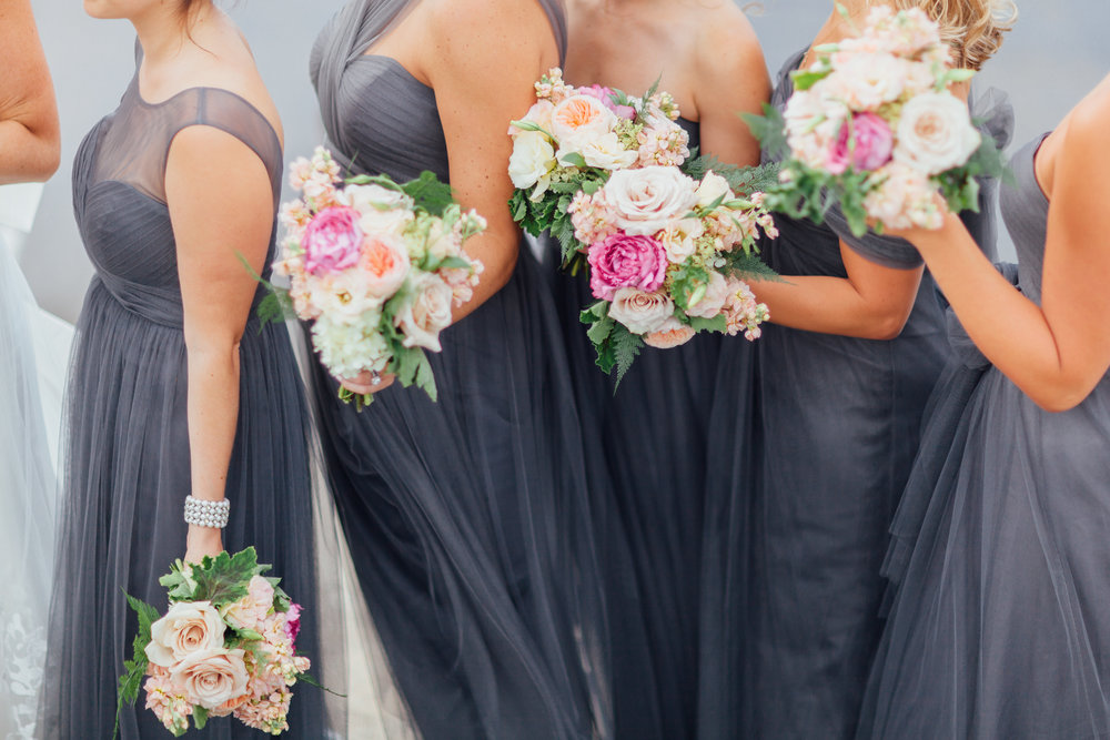 dark grey bridesmaid dresses, adler plaetarium, wrap it up parties