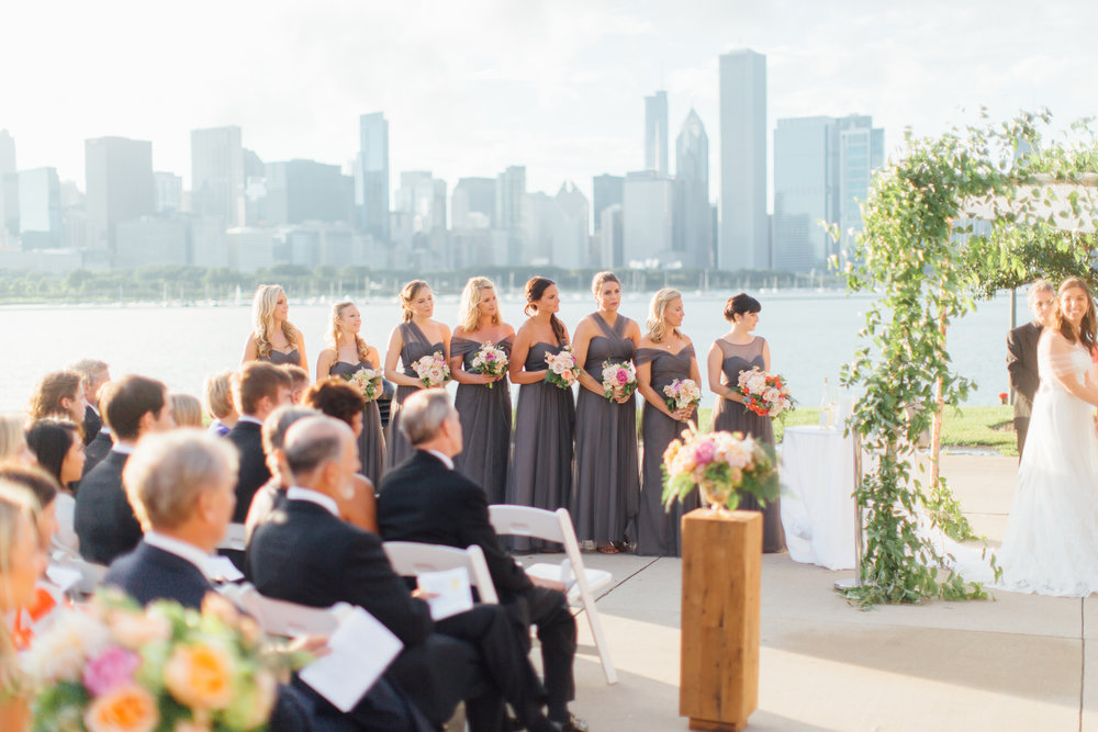 bridesmaids, ceremony, adler planetarium, wrap it up parties