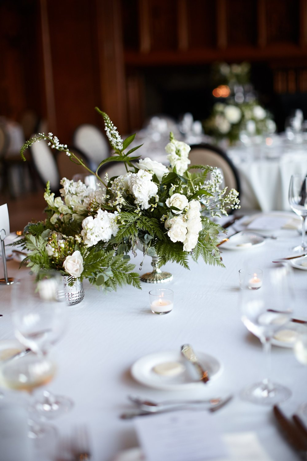White and Greenery Centerpiece