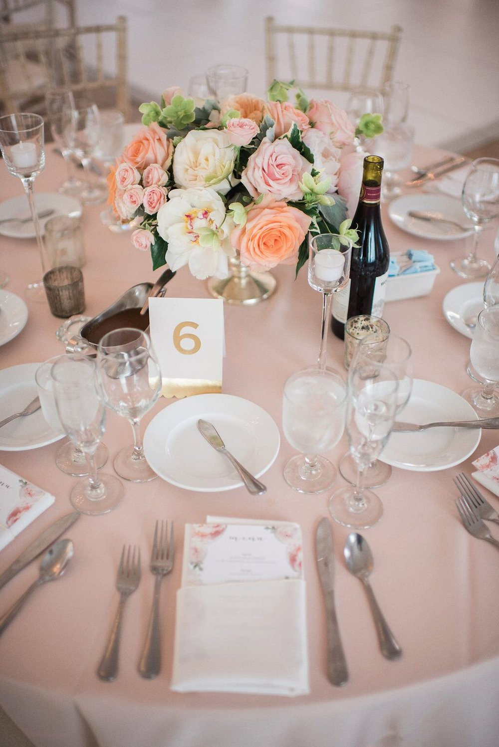 White and Blush Table Setting