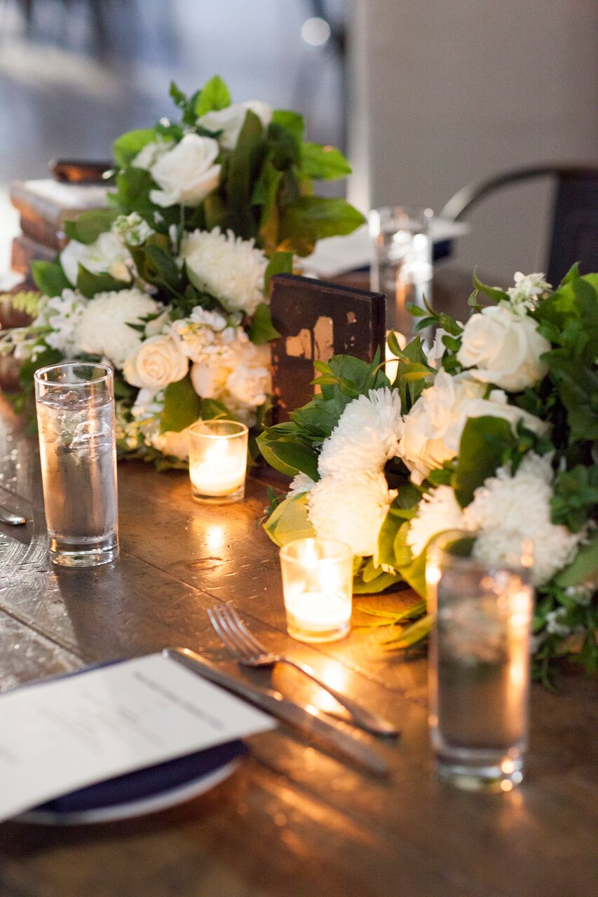 White Dahlias and white rose centerpieces   Planning By Wrap It Up Parties  Artifact Events