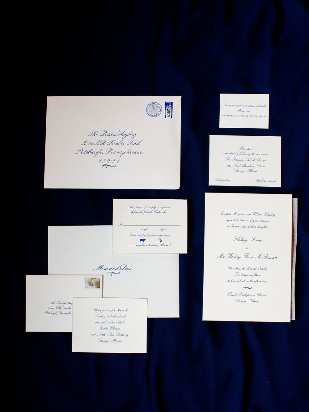 Traditional wedding invitations  Blue and White Wedding Invitations   Planning By Wrap It Up Parties