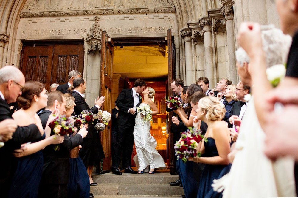 Bride and groom leaving the church   Recessional From Church   Planning By Wrap It Up Parties