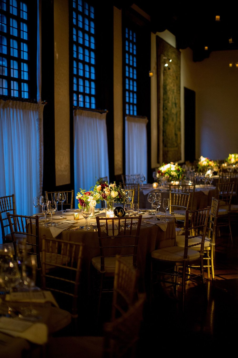 Jewel toned and candle lit reception space  Reception Decor    Planning By Wrap It Up Parties