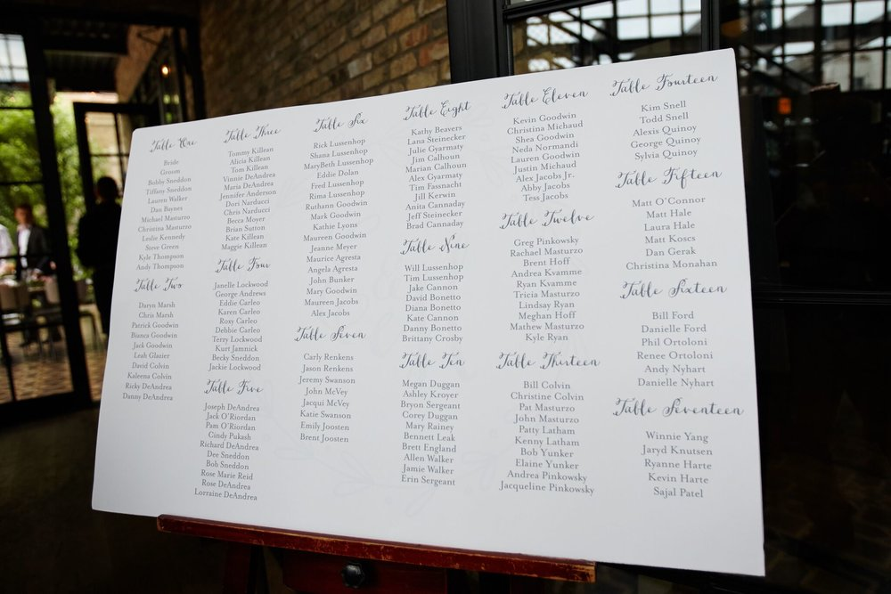 Calligraphy Seating Assignments