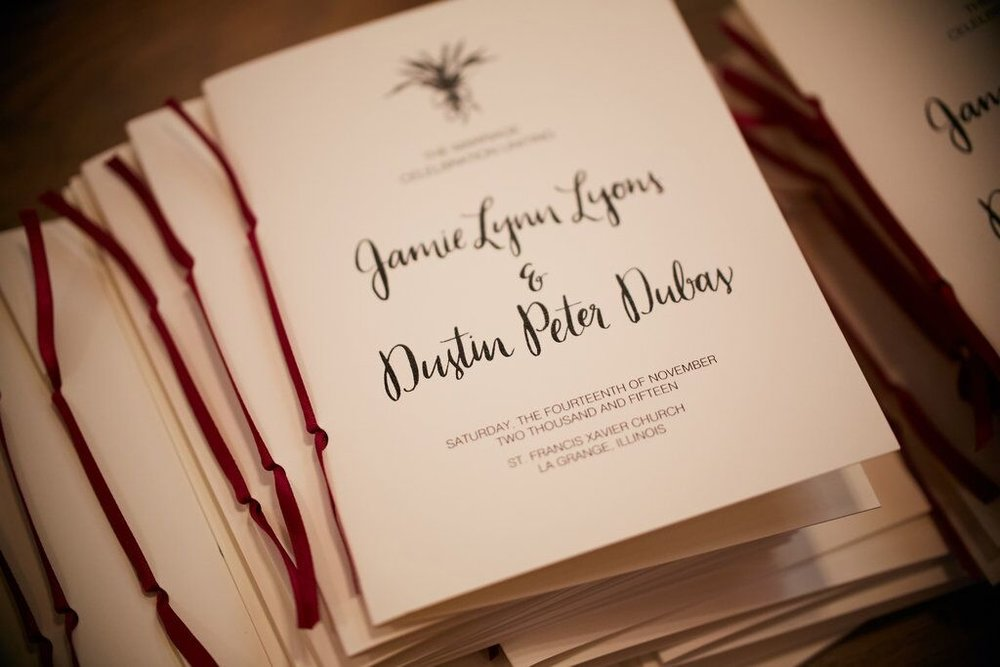 Handwritten Wedding Programs