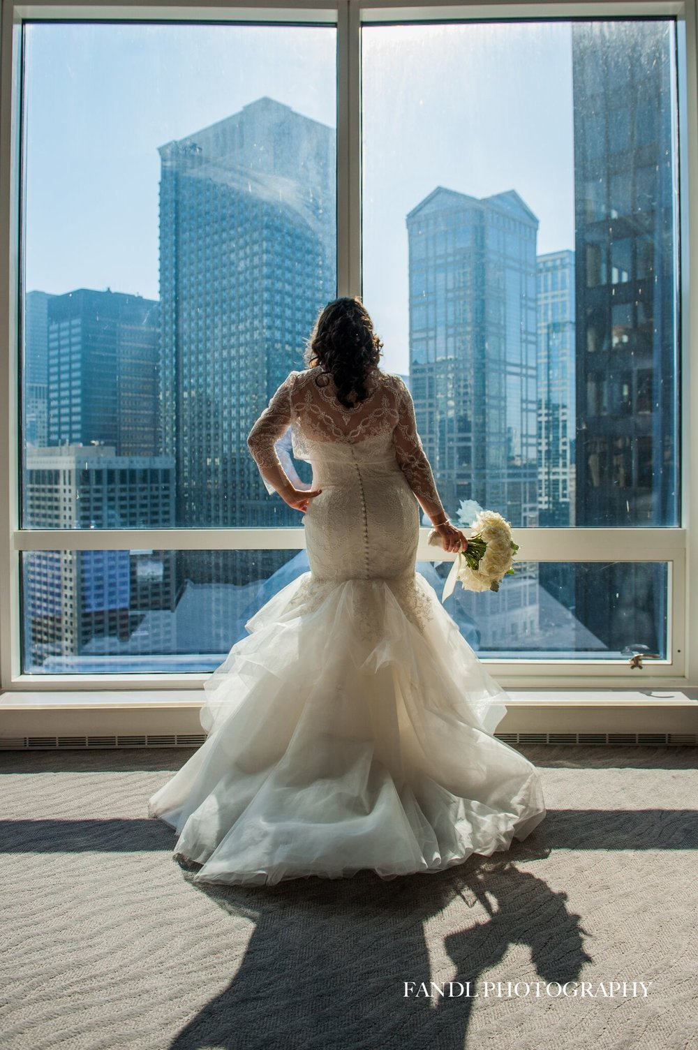 Bride Overlooking River
