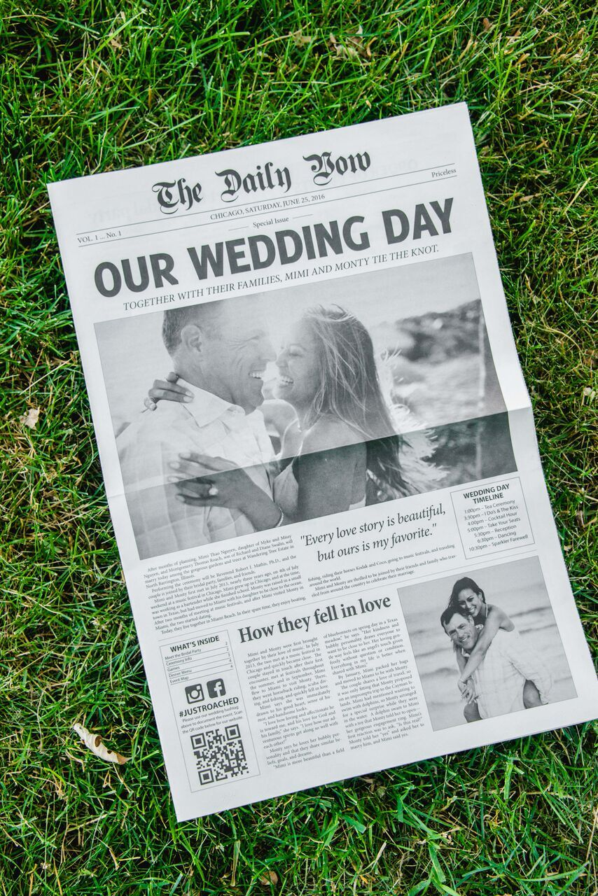 Newspaper Wedding Programs