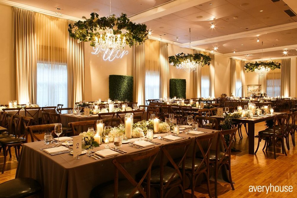 Greenery Wrapped Chandeliers