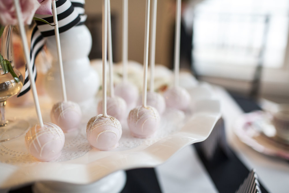 pink cake pops, girls tea party, birthday party, Wrap It Up Parties