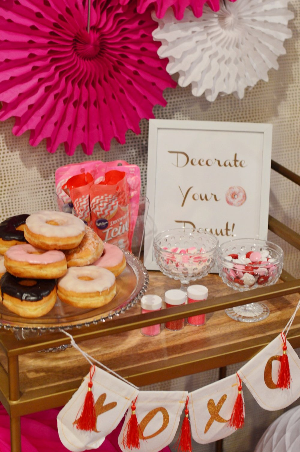 donut party, donut decoration, valentines day party, donut birthday party, Wrap It Up Parties