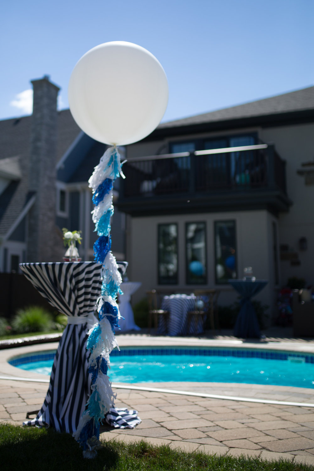blue and white party decorations, nautical first birthday, Wrap It Up Parties