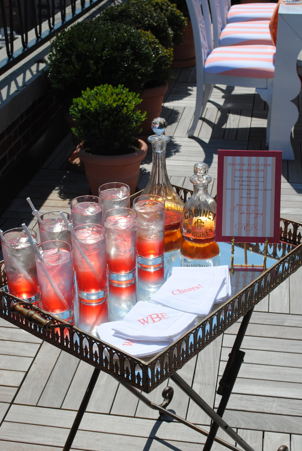 rooftop drinks, coral details, bridal shower, Wrap It Up Parties