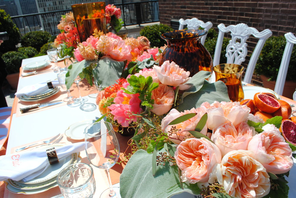 coral flower centerpieces, bridal shower, citrus tablescape, Wrap It Up Parties