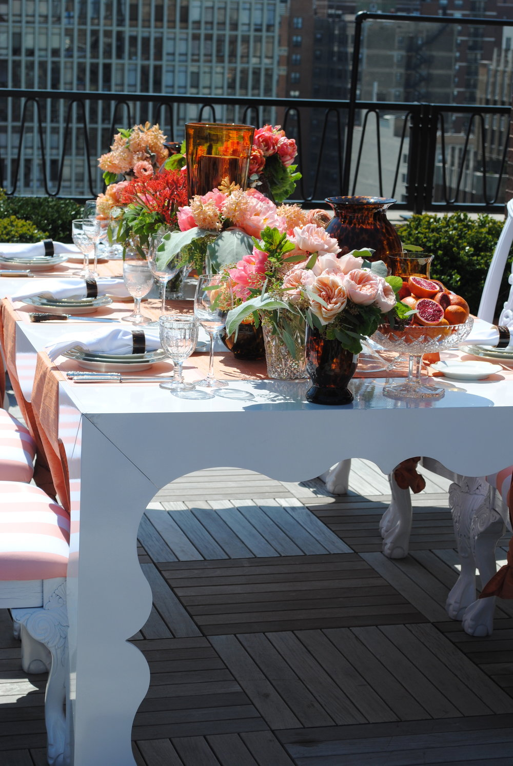 citrus tablescape, coral flowers, bridal shower, rooftop bridal shower, Wrap It Up Parties