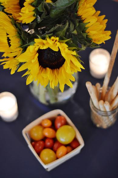 sunflower shower arrangement, rustic picnic baby shower decor, Wrap It Up Parties