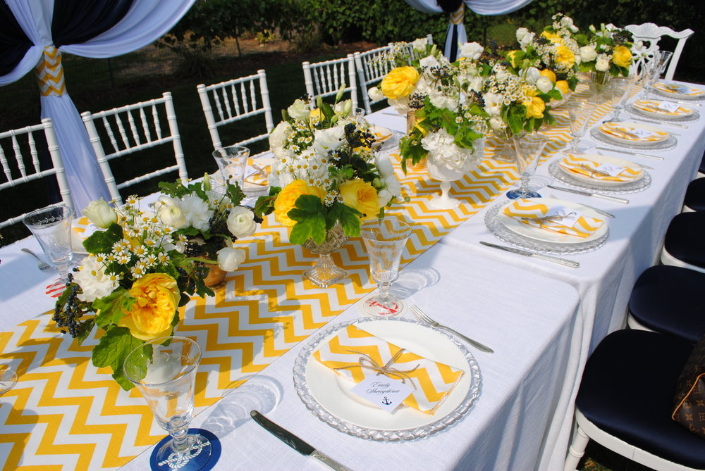 nautical baby shower, yellow chevron, yellow center pieces, Wrap It Up Parties